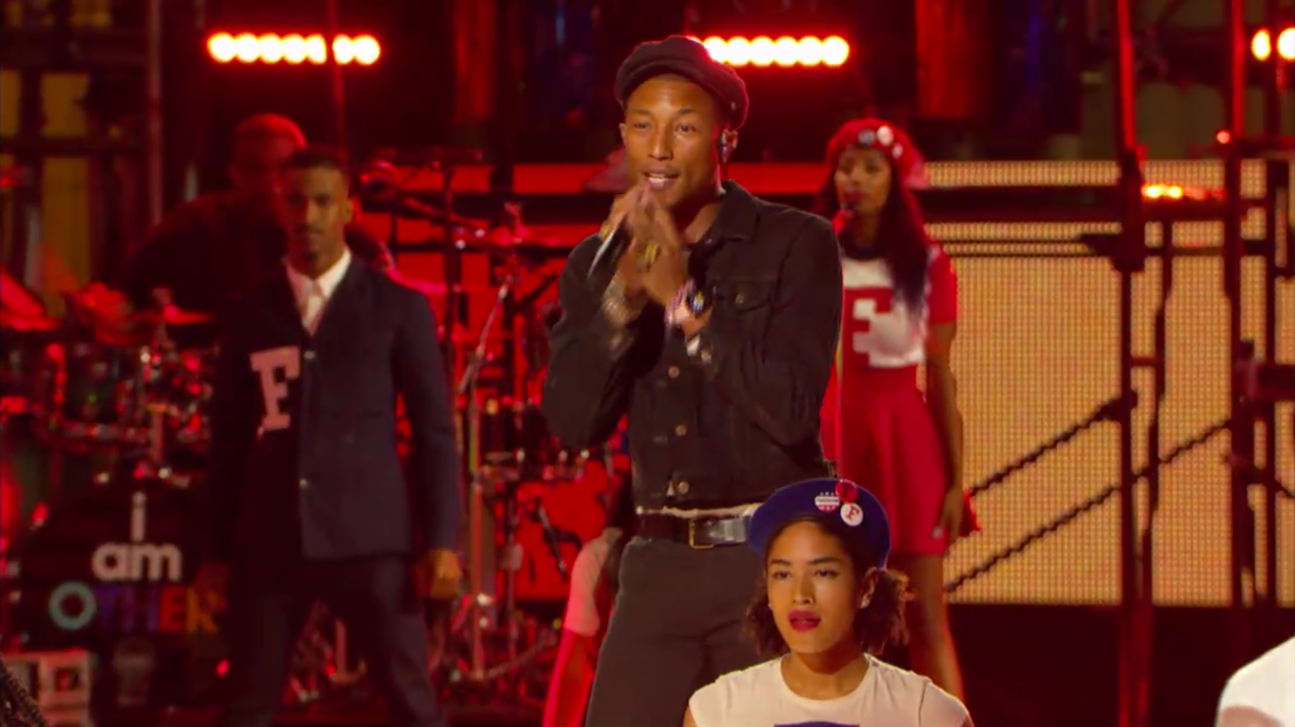 Sean Bankhead performing with Pharrell Williams at the MTV VMAs